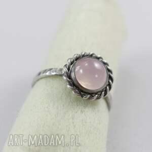 srebro pierścionki kwarc różowy i - pierścionek
