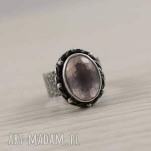 z kwarcem kwarc różowy i srebro - piękny