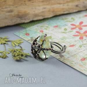 pierścionek pierścionki beżowe kwarc z rutylem -