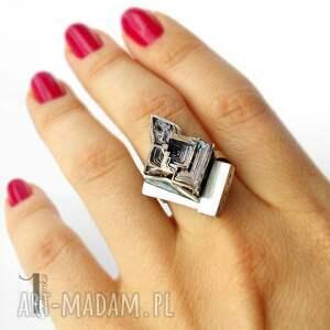 eleganckie bizmut minimalistyczny, srebrny, regulowany pierścień