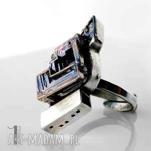 srebro szare labirynt srebrny pierścień z