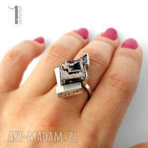 bizmut labirynt srebrny pierścień z