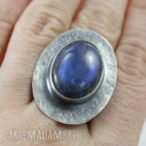 ChileArt Labradoryt niebieski i srebro - pierścionek - biżuteria oksydowany
