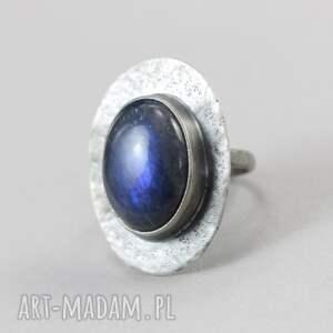 pierścionek labradoryt niebieski i srebro