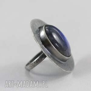 niebieskie pierścionki labradoryt niebieski i srebro