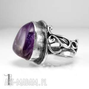 pierścionek pierścionki fioletowe lavender srebrmy