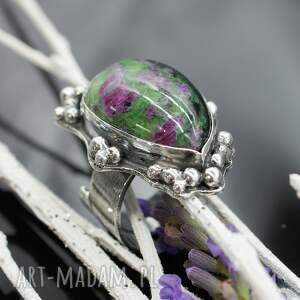 pierścionki zoisyt lawender - okazały pierścionek