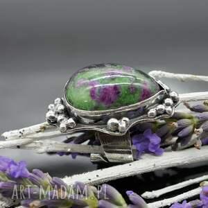 unikalne pierścionki zoisyt lawender - okazały pierścionek