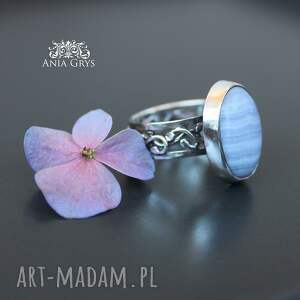 fioletowe pierścionki chalcedon lawendowy.. pierścionek