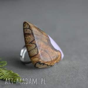 na prezent lawendowy pierścionek z drewna