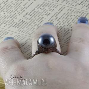 brązowe pierścionki pierścionek liquid - z hematytem