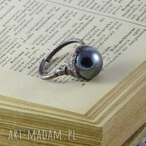 wyjątkowe pierścionki pierścionek liquid - z hematytem