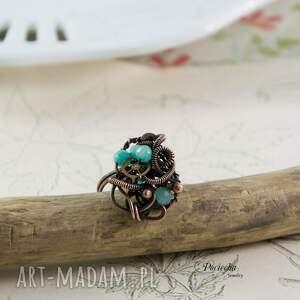 turkusowe pierścionek mary - steampunkowy