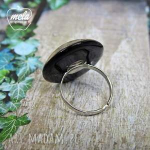 pierścionek czarne 0546/ mela - kwiaty