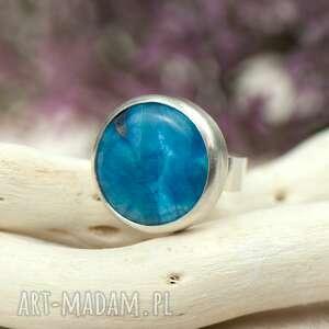 pierścionki srebrny-niebieski minimalistyczny srebrny pierścionek