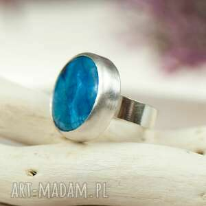 srebrny-niebieski pierścionki minimalistyczny srebrny pierścionek