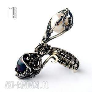 pierścionki perły monochrome v - srebrny pierścień