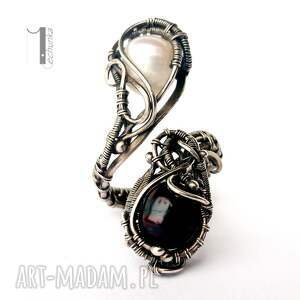 srebro pierścionki białe monochrome v - srebrny pierścień z