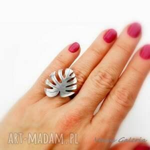 pierścionek monstera - srebrny