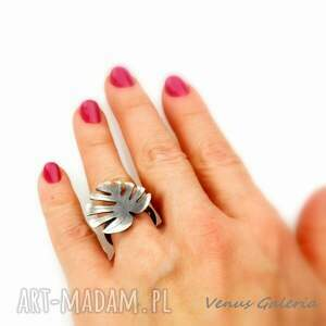 srebro monstera - pierścionek srebrny