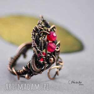 brązowe pierścionki miedź morrigan - pierścionek z agatem
