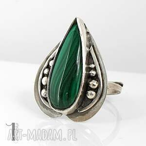 niesztampowe pierścionki regulowany nelumbo zielony - srebrny pierścień