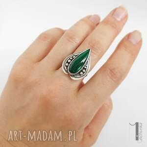 pierścionki srebrny nelumbo zielony - pierścień