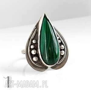 niesztampowe pierścionki pierścionek nelumbo zielony - srebrny pierścień