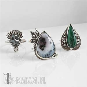 pierścionek pierścionki nelumbo zielony - srebrny pierścień