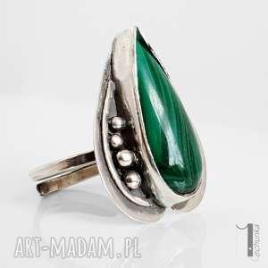 pierścionek pierścionki zielone nelumbo zielony - srebrny pierścień