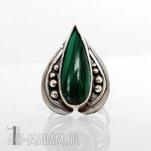 szare pierścionki pierścionek nelumbo zielony - srebrny pierścień