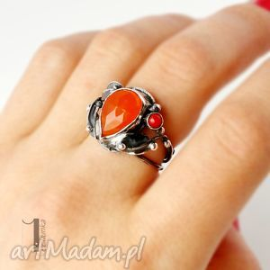 unikatowe pierścionki koral aurantia srebrny pierścionek