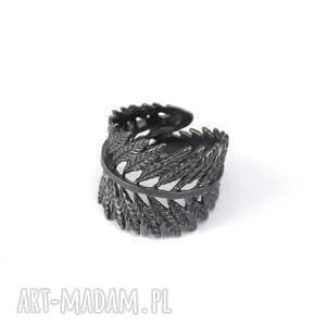 intrygujące pierścionki liść obrączka z oksydowanego srebra