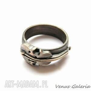 atrakcyjne biżuteria obrączka srebrna - skrzypce