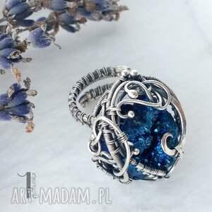 wirewrapping niebieskie osobliwość - blue sky rose srebrny