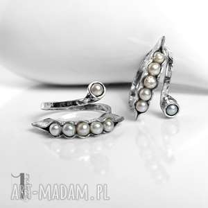perłu surowy, srebrny, regulowany pierście&#324