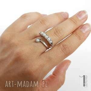 ręcznie zrobione pierścionki regulowany pearly husk ii srebrny pierścionek
