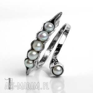 ręcznie zrobione pierścionki pierścionek pearly husk ii srebrny