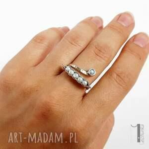 perła pearly husk i srebrny pierścionek