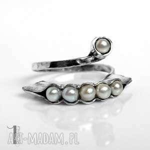 białe pierścionki pierścionek pearly husk ii srebrny