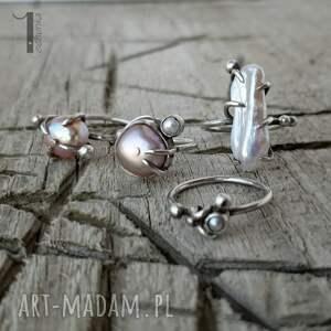 handmade pierścionki wild pearl - double pink srebrny