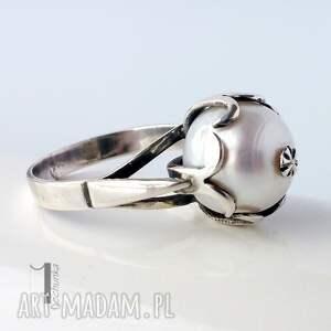 srebro pierścionki białe perłowy - srebrny pierścionek