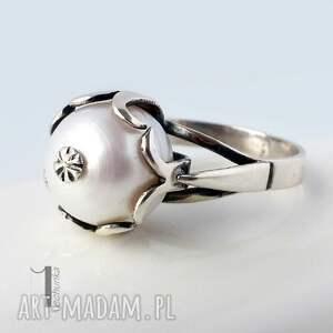 szare pierścionki 925 perłowy - srebrny pierścionek