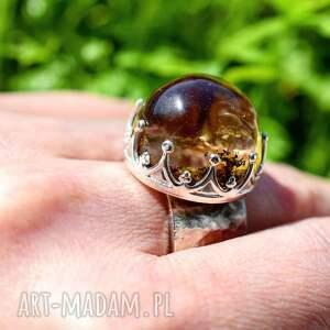 srebro pierścień z kwarcem