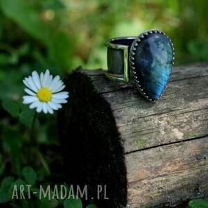 niebieskie pierścionki srebro pierścień z labradorytem