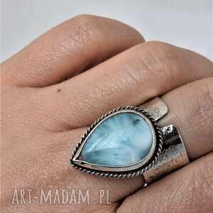 turkusowe larimar pierścień z larimarem