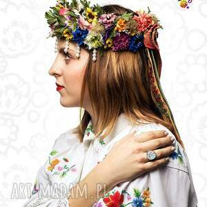 białe folklor pierścionek kaszubski