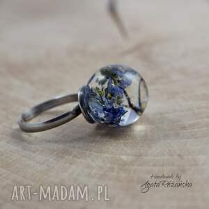 niebieskie stal chirurgiczna pierścionek kula z żywicy