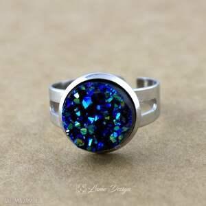 niebieskie pierścionki pierścionek niebieski druzy