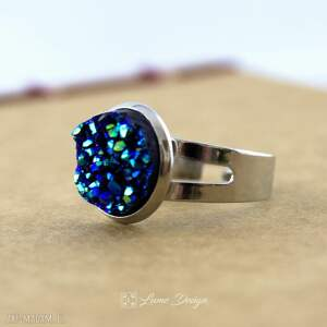trendy pierścionki pierścionek niebieski druzy